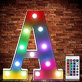 Luces de Símbolo de Número Letra Alfabeto LED Iluminado Colorido con Interruptor de...