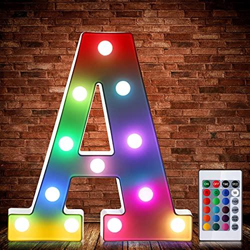 Luces de Símbolo de Número Letra Alfabeto LED Iluminado Colorido con Interruptor de Control Remoto Inalámbrico Lámpara Decorativa de Corazón para Boda San Valentín Navidad (Letra A)