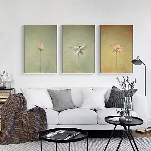 ZSHSCL Leinwanddruck Malerei 3 Stück Chinesische Lotus Tinte Malerei Zen Illusory Leinwand Malerei Kunstdruck Poster Bild Wand Einfache Schlafzimmer Dekor, 40X50 cm