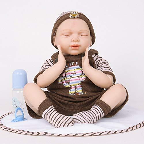 Nicery Reborn Baby Doll Simulación Suave Silicona Vinilo Magnético Boca Juguete Realista Niño Ojos Cerrados 55cm