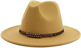 Hats and Caps Formal Panama Cap Floppy Hat Wide Brim Wool Felt Jazz Fedora Hats for Men Women British Classic Trilby Party (Color : Beige, Size : 56-58)