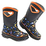 Kids Rain Boots, Mcikcc Waterproof Mud Rubber Boots Non-slip with Easy on Handles for Toddler Girls Boys Youth