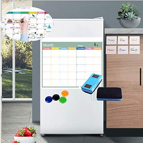 Magnetischer Monatskalender,Tianher Whiteboard 42 * 30cm für den Kühlschrank mit 6*Elektrostatisch Selbsthaftende Whiteboard Haftnotizen & 4*Magnete 2*Radierer für Memoboard Einkaufsliste