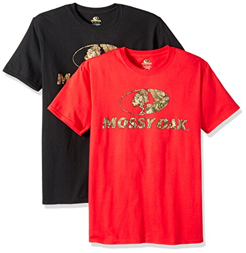Mossy Oak Men's Short Sleeve Graphic T-Shirts (2 Pack), X-Large, Red/Black