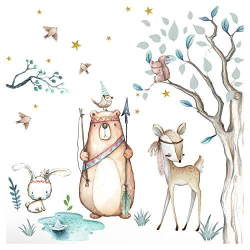 Little Deco Aufkleber Waldtiere & Bär I Wandbild 116 x 102 cm (BxH) I Baum Hase Sterne Wandsticker Kinder Wandtattoo Kinderzimmer Baby Deko Babyzimmer DL505