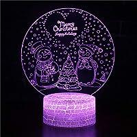 3Dナイトライト クリスマススノーマン リモコン 寝かしつけランプ 7色変更 調光機能 男の子 女の子 クリスマス 誕生日プレゼント
