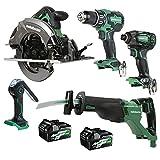 Metabo HPT 18V/36V MultiVolt 5-Piece Cordless Tool Combo Kit | Hammer Drill | Triple Hammer Impact Driver | Circular Saw | Reciprocating Saw | Work Light | KC18DBFL2QD