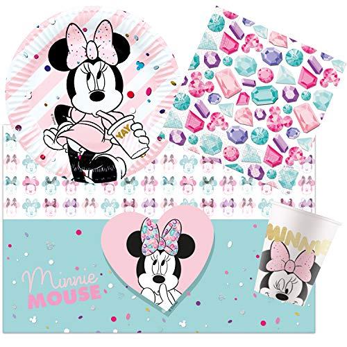 Procos Juego de Fiesta Infantil de Minnie Mouse de Disney, Platos, Vasos, servilletas, Mantel, decoración de Mesa, cumpleaños Infantiles, barbacoas, Fiestas temáticas.