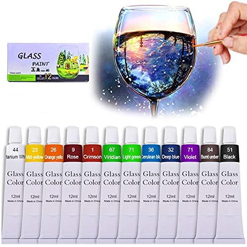 Hapree 12 Farben Glasfarbe ungiftig transparent transparent Glasmalerei Zubehör für Glas Porzellan Fenster Weinflasche Lebendige Farben Malerei (0.41 fl.oz)