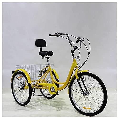 FGVDJ Triciclo de 3 Ruedas para Adultos con Pedal, Bicicleta para Adultos, Bicicleta de Pedal con Canasta Blanca para Deportes al Aire Libre, Asiento Ajustable para Compra