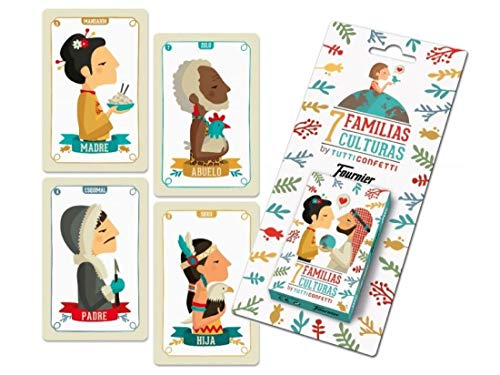 Tutti Confetti- Familias de 7 Países Baraja de Cartas Educativa Infantil (Naipes...