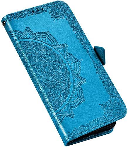QPOLLY Kompatibel mit LG Stylo 5 Hülle Leder Handy Tasche Brieftasche Flip Wallet Case Schutzhülle Mandala Blumen Muster Klapphülle mit Standfunktion für LG Stylo 5,Blau