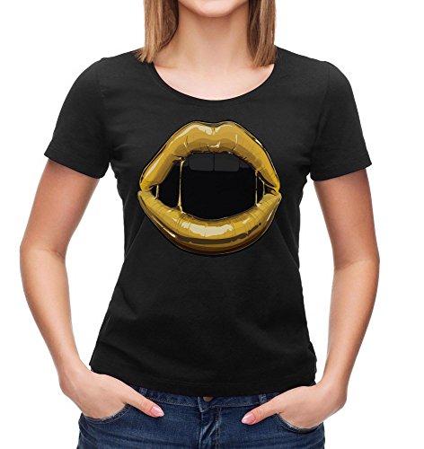 Gold Lips T-Shirt | Lips T-Shirt | Mode T-Shirt | Goud kus T-Shirt Vrouw t-shirt zwart