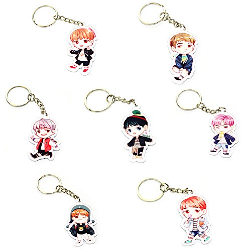 Loheag Clinor 7 Stück BTS Keychain BTS Band Members Fan Schlüsselbund Schlüsselanhänger Anhänger Ornament | Jungkook, Jimin, V, Suga, Jin, J-Hope, Rap Monster | Beste Geschenk für The Army (Style 07)