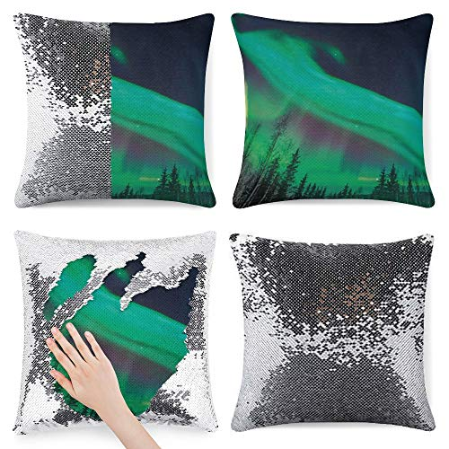 pealrich Fundas de almohada cuadradas para sofá cama, color verde musgo Aurora Borealis franela, fundas de cojín decorativas, 40,6 x 40,6 cm