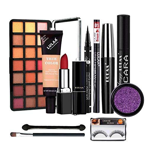 Juego de maquillaje Paleta sombras ojos kit de maquillaje profesional con lápiz labial, rímel, corrector, polvo de brillo, pincel de sombra ojos para principiantes y regalos de Navidad