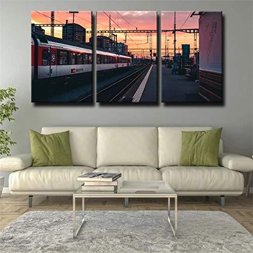 DDSDA Cityscape Railway Train Station Stampe e Quadri su Tela 3 Pezzi Stampa su Canvas Painting Quadro Modern Decorazioni per Camera da Letto Soggiorno Murale