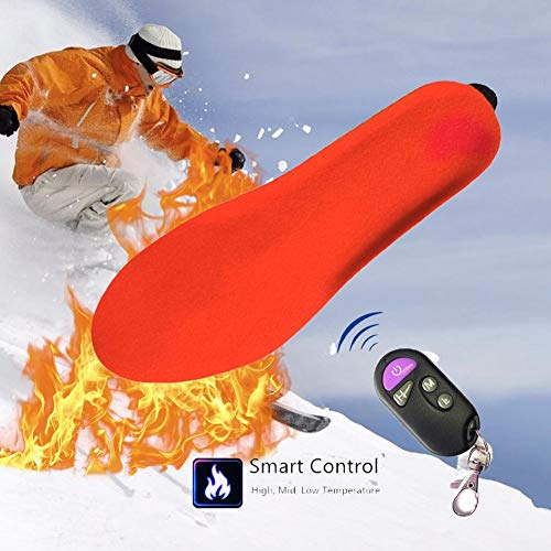 Plantillas calefactables eléctricas recargables con control remoto inteligente para calentar plantillas de pie calentador de corte a ajuste para mujeres hombres invierno caza pesca, 35-40