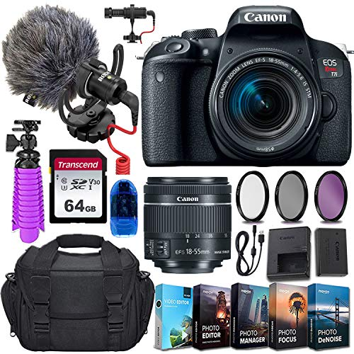 Canon EOS Rebel T7i DSLR Camera and 18-55mm STM Lens w/Rode VideoMicro Compact On-Camera Microphone + 64GB Transcend Memory Card, Camera Bag & More Essential Accessory Bundle