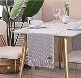 UKOBÁN Deko Tischläufer grau weiß/Wohnzimmer Dekoration/Boho Retro Tischdecke Tischset/Schlafzimmer Küche / 30x150 cm - 6
