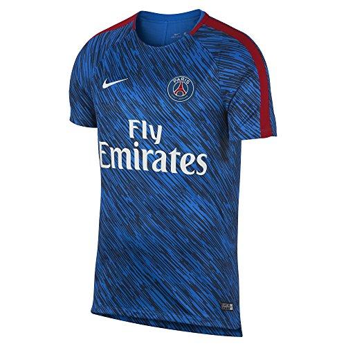 NIKE PSG M Nk Dry Sqd SS Gx - Camiseta de fútbol para Hombre, Hombre, Camiseta de fútbol, 928076, Azul Encendido/Azul Azul/Rush Rojo/Blanco, X-Large