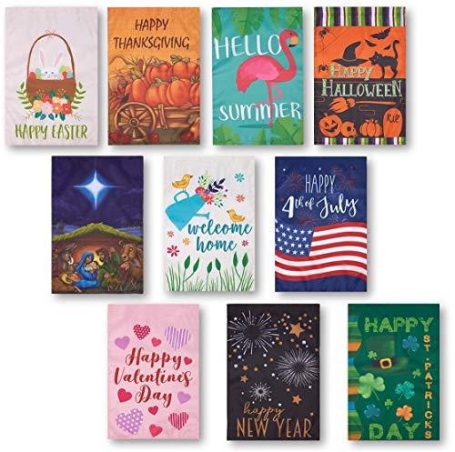 Juvale Saisonale Gartenflaggen für Draußen (Set, 10 Stück) - U.a. mit Themen Sommer, Winter Feiertage und mehr - Rasenflagge, Garten-Dekoration - Mehrfarbig, 30,5 x 45,7 cm