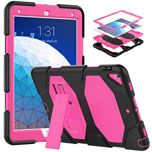 Timecity Case Compatible with iPad Air 3rd Gen 2019 Release, Rugged Hybrid Shockproof Stand Case, Kids Friendly Thickened Silicone Protective Cover for Air 3 10.5' 2019 / Pro 10.5 2017, Rose/Black