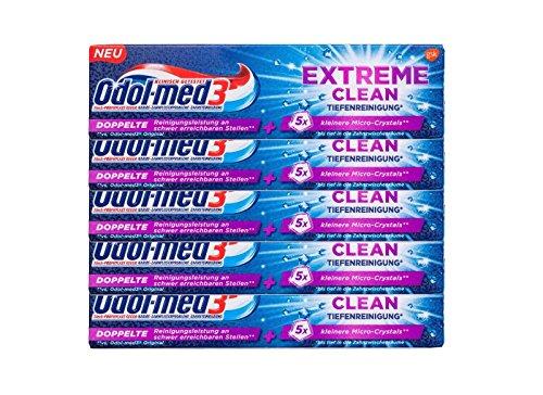 5x Odol-med 3 Extreme Clean Tiefenreinigung Zahnpasta 75 ml