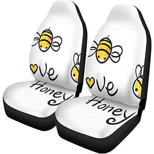 Auto Stoelhoezen Cartoon Honing en Bijen Baby Bumblebee Honingbij Insect Dieren Set van 1 Beschermers Auto Fit voor Auto