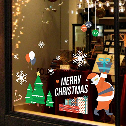 Buon Natale/Felice Anno Nuovo Wall Sticker festival Vetro finestra sfondo per la decorazione domestica Adesivimuraliadesivimurali 56x45cm