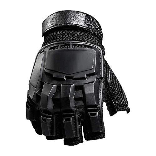 TZZ Gants de Sport pour Hommes Gants Tactiques Demi-Doigt mâle étudiant armée armée fanfaronne Combat Self-défense Sports Fitness Formation Moto Gants de Moto Pays Noir (Taille : XL)