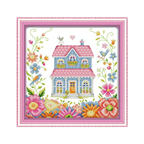 Cross Stitch Kits for Adults Garden Shed for Beginners Advanced - Embroidery Set Needlework DIY Handmade Pattern Cross Stitching Home Decoration 16X20 Inch
