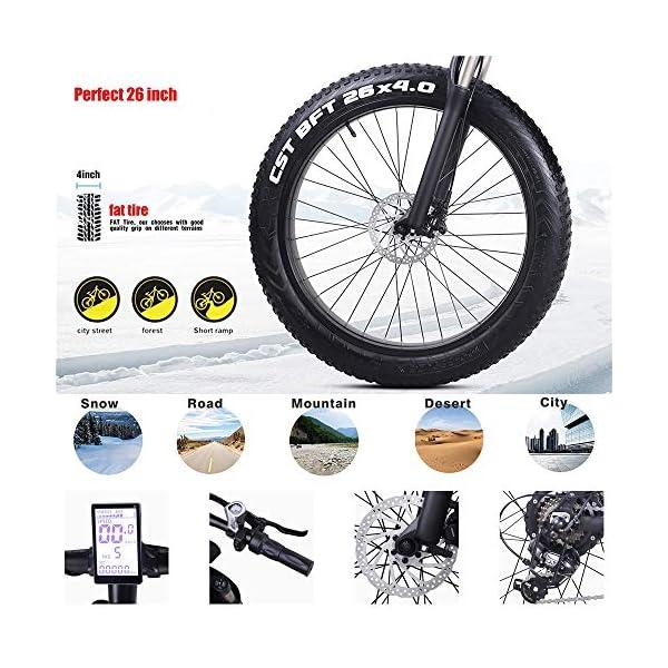 "51WMSkedOML. SS600  - Skyzzie Elektrofahrrad Fahrräder Mountainbikes F0148V, 26"" x4.0 Fatbike Offroad-Reifen E-Bike Cityräder mit Motor, 1000W 12.8Ah 50 km Akkulaufzeit, Rot, Grün"