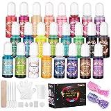 Ucradle Epoxidharz Farbe - 24 Farben Flüssiger Epoxidharz Pigment für DIY Schmuckherstellung,...