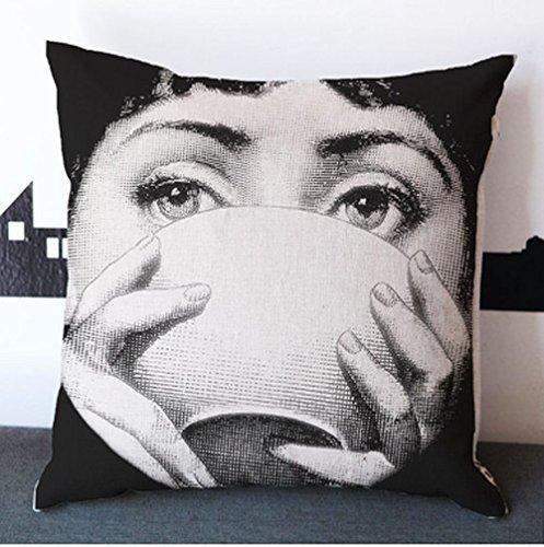 JGArtStore Cotton Linen Square Throw Pillow case/Kissenbezüge Cushion Cover Throw Pillow Shell Pillowcase/Kissenbezüge for Sofa Fornasetti faceTea cup Tea 18 X 18