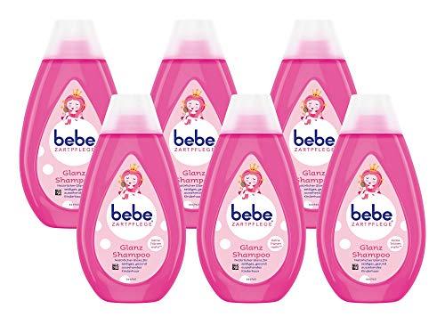 bebe Zartpflege Glanzshampoo, zartes und pflegendes Shampoo,reinigt sanft, Kindershampoo, 6er Pack (6 x 300 ml)