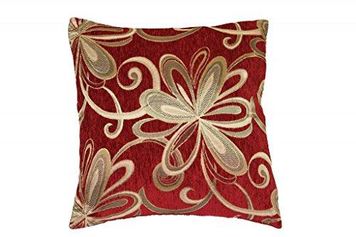 Violet Linen Chenille Chateau Vintage Floral Design Decorative Cushion Cover, 18