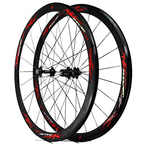 MZPWJD Set di Ruote per Bici da Corsa su Strada 700c Cerchi Freno Cerchio in Lega A Doppia Parete 40mm Ruota Bicicletta QR 7-12S Hub per Schede 1890g (Color : B-Red)