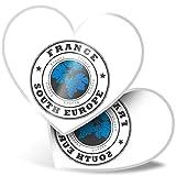 Impresionante pegatinas de corazón de 7,5 cm – Francia Sur Europa Francia calcomanías divertidas para portátiles, tabletas, equipaje, libros de chatarras, neveras, regalo genial #4526