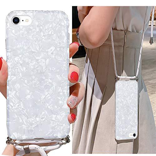 LLZ.COQUE Handykette Kompatibel mit iPhone 6/6S Hülle mit Band Handyhülle Muschel Case für iPhone 6/6S zum Umhängen, Silikon Hülle mit Schnur, Schutzhülle mit Kordel Weiß