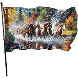wallxxj Garden Flag Pferde Lebendige Bunte Garten Fahnen Hof Flagge Standard Urlaub Willkommen 150 X 90 cm Outdoor Druck Hof Banner