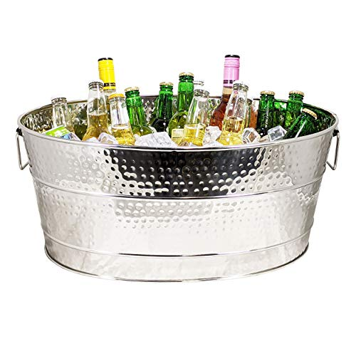 BREKX Aspen Stainless-Steel Metal Bucket for Ice and Drinks, Beverage Chiller for Parties