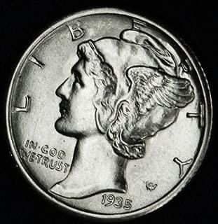 1935 90% Silver Mercury Dime GEM BU .10c Dime Choice Brilliant Uncirculated