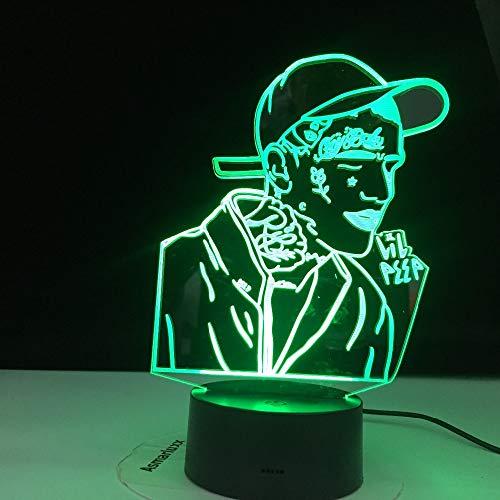 American Rapper Lil Peep Led Luz de Noche para la Decoración del Hogar Colorido Luz de Noche Regalo para los Fans Dropshipping Lámpara 3D Celebridad