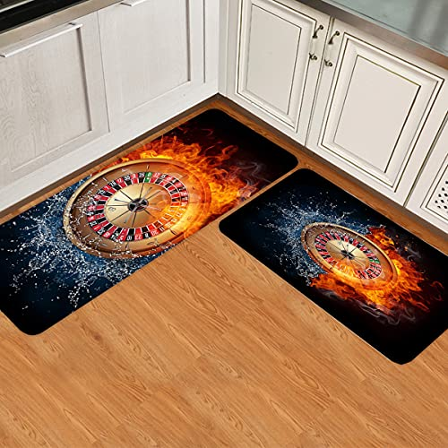 IDOWMAT Kitchen Rugs Set of 2 Turntable in Water and Fire Kitchen Rugs and Mats Non-Slip Washable Low Profile Doormats Home Decor Indoor Floor Mats for Entryway Sink Stove Kitchen Office