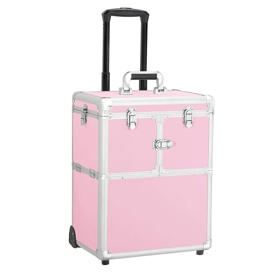 Yaheetech Professional Rolling Makeup Artist Travel Case - Portable Travel Makeup Trolley Cosmetic Case Beauty Train Case Cosmetic Organizer