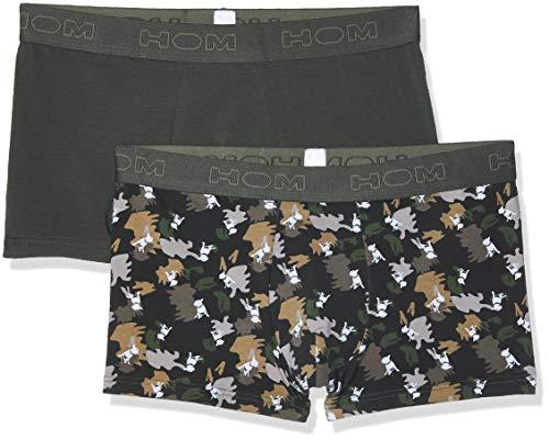 HOM Herren Dog #2 Boxer Briefs 2p Boxershorts, Grün (Lot De 2: Kaki + Imprimé Camouflage Avec Chien Blanc D019), Medium (2er Pack)