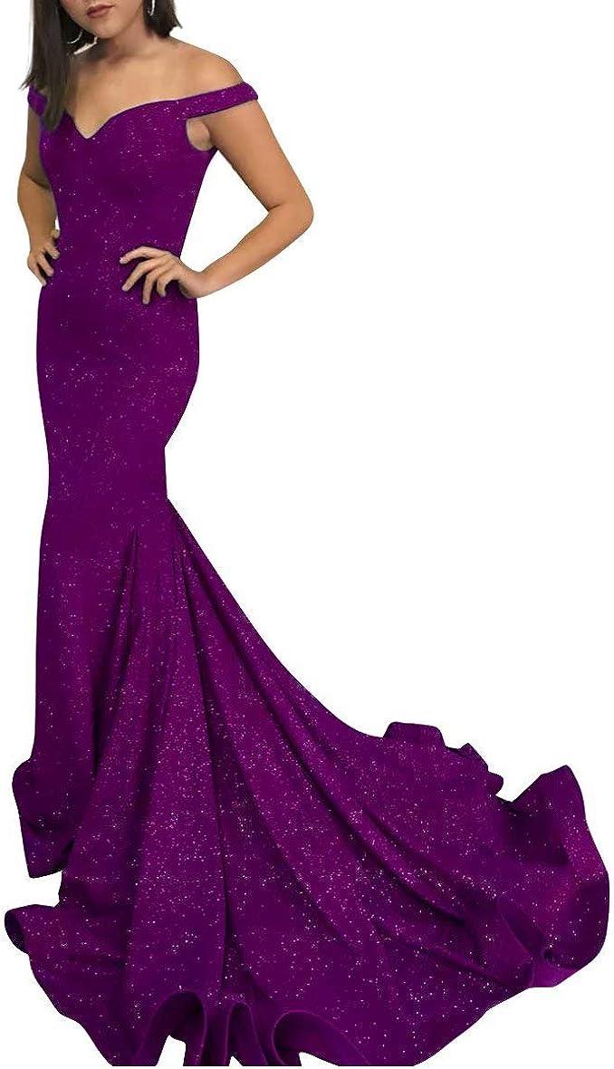 LanierWedding Women's Off The Shoulder Glittery Mermaid Long Party Gown