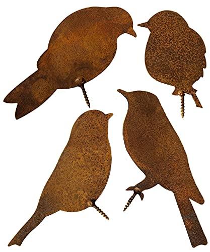 Edelrost Vögel mit Schraube zum Eindrehen in Holz, 4 Rostiges Vögel, Metall Rost Gartendeko Vögel Figur, Rostdeko Metall Rost Gartenstecker Baumstecker deko