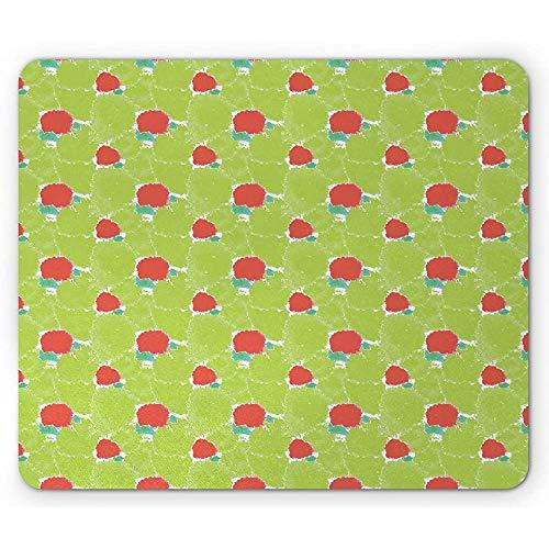Aquarel Mouse Pad, Hippie Stijl Kleurrijke Schilderij Herhaling Circulaire vormen Kunst, Appel Groen en Verbrand Sienna